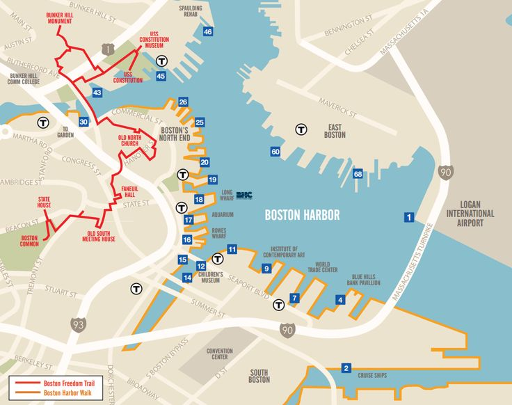 The Boston Harbor Cruises Water Taxi Map! Find a stop and