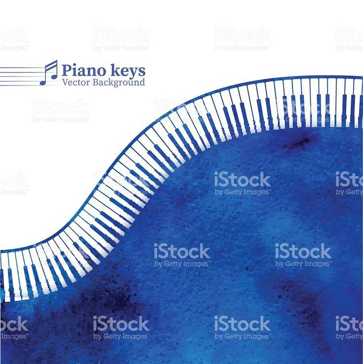 Teclas de Piano aquarela de fundo. vetor e ilustração royalty-free royalty-free