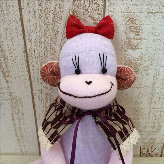 Japanese Sock Monkey Doll Girl 132  by KnKCraftsAndDesigns on Etsy