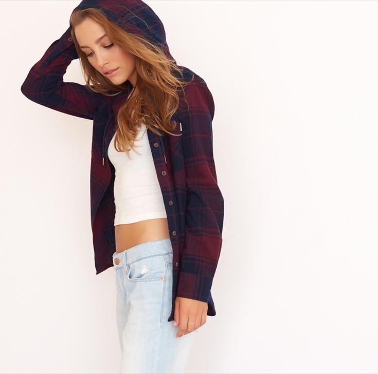Velvet Burgundy Hooded Flannel Plaid Shirt