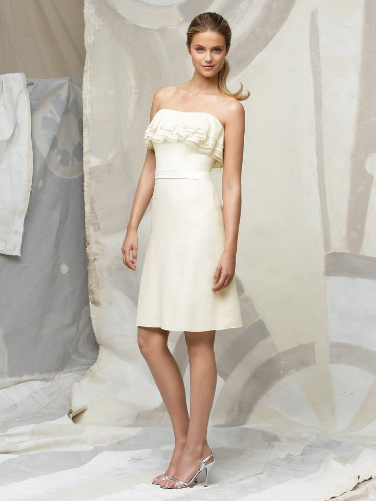 Perfect Cheap Ivory A Line Strapless Lace Up Knee Length Prom Dresses With Ruffles and Belt