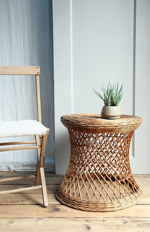 Vintage Wicker Side Table/ Plant Stand