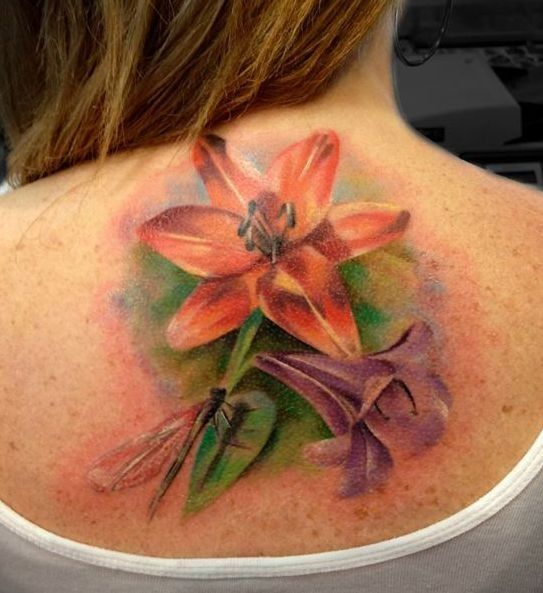 Watercolor Lilies tattoo for girls - flower tattoos