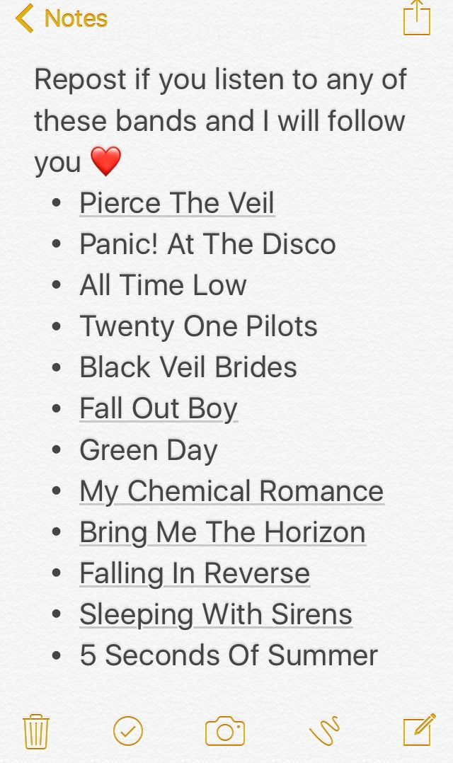 OMG ALL OF THEM<<I've literally listened to all of these bands songs//BANDS