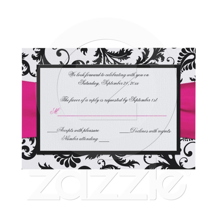 RSVP cards - $2.05 each Black, White, Fuchsia Damask Reply Card Invite from Zazzle.com