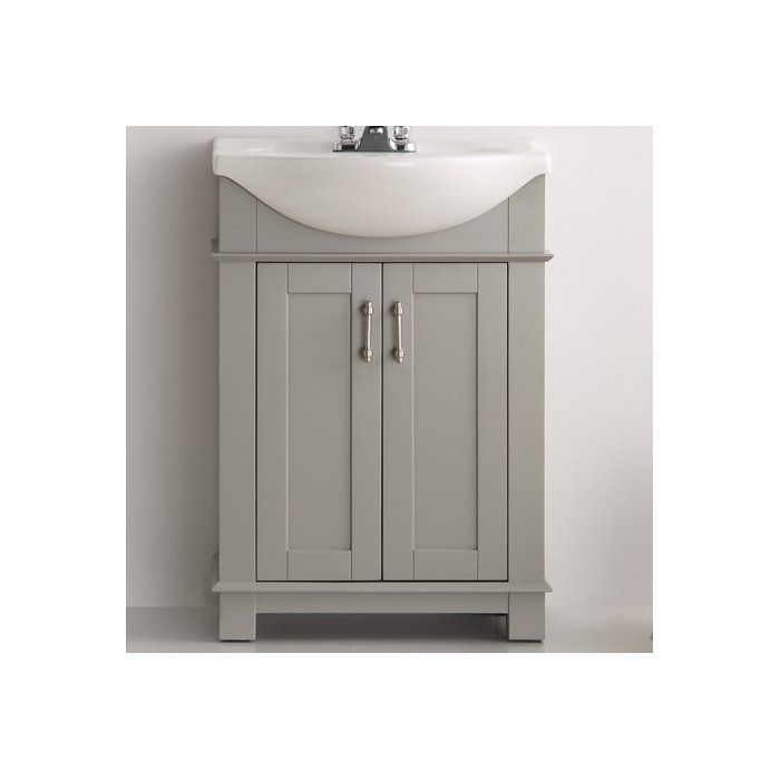 The Fresca Cambria transitional bathroom vanity features an integrated white ceramic belly bowl that blends beautifully with the chic cabinet. With clean vertical lines and a smart design, this vanity has soft close doors that open to reveal under-the-sink storage space. Satin nickel handles and a furniture-style toe kick add the perfect finishing touches.