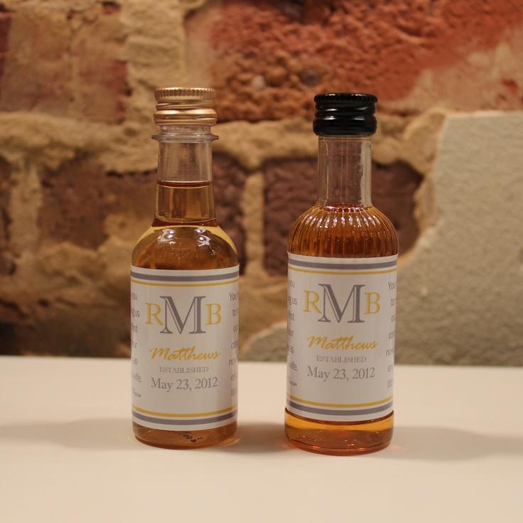 25 Custom Mini Liquor Bottle Labels Wedding Favors Thank You Captain Morgan Rum Southern Comfort Whiskey Party Favor Groomsmen Gifts. $20.00, via Etsy.
