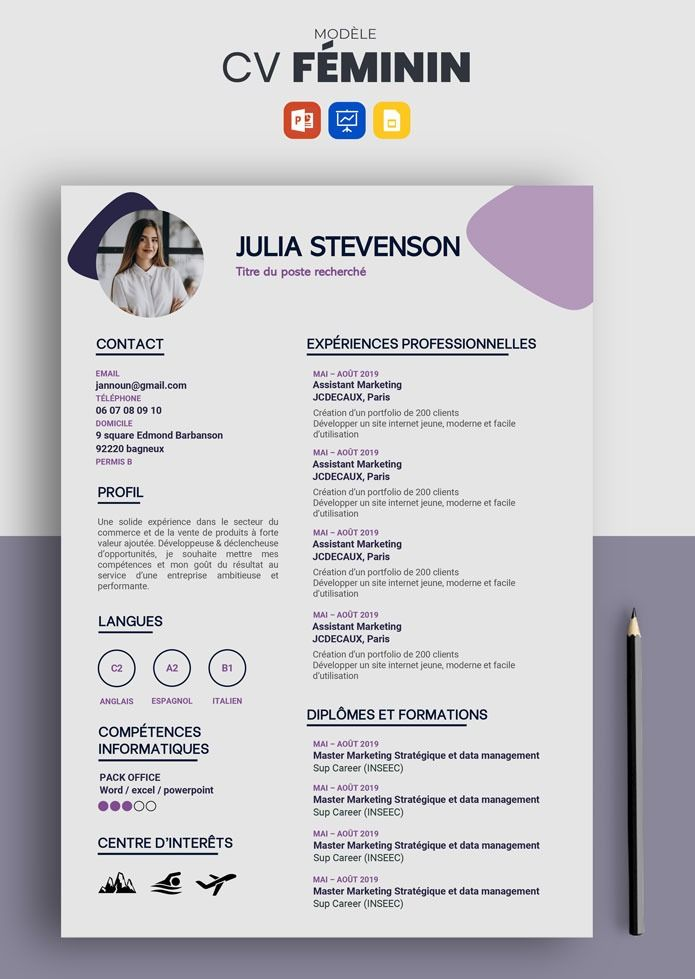 Cv Feminin Modele De Cv Simple Et Efficace A Telecharger Modele Cv Lettre De Motivation Lettre De Motivation Ecole