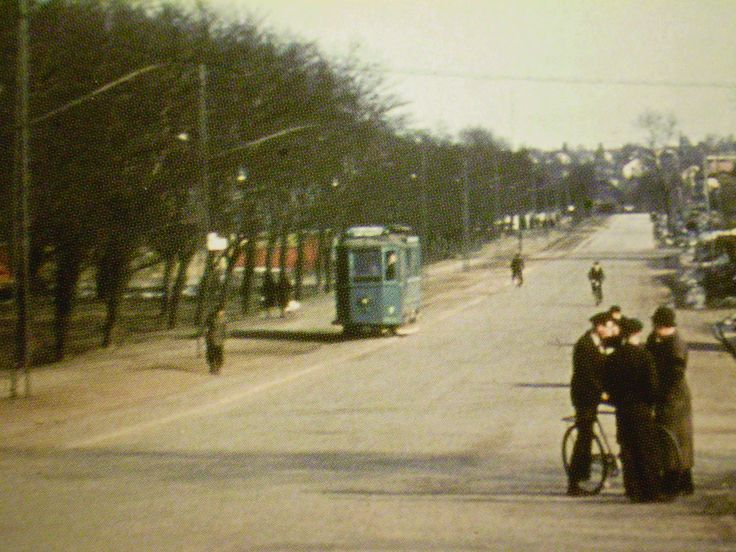 A city tram in Sundsvall come down the street in the late 1940's.