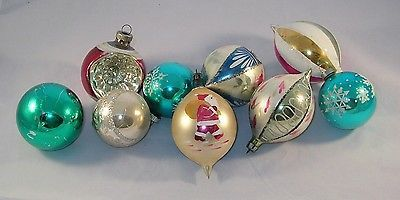 Vintage Glass Christmas tree ornament Shiny & Bright Santa glitter many colors