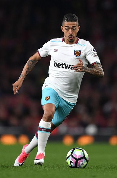 Manuel Lanzini of West Ham United in action during the Premier League match between Arsenal and West Ham United at the Emirates Stadium on April 5, 2017 in London, England.