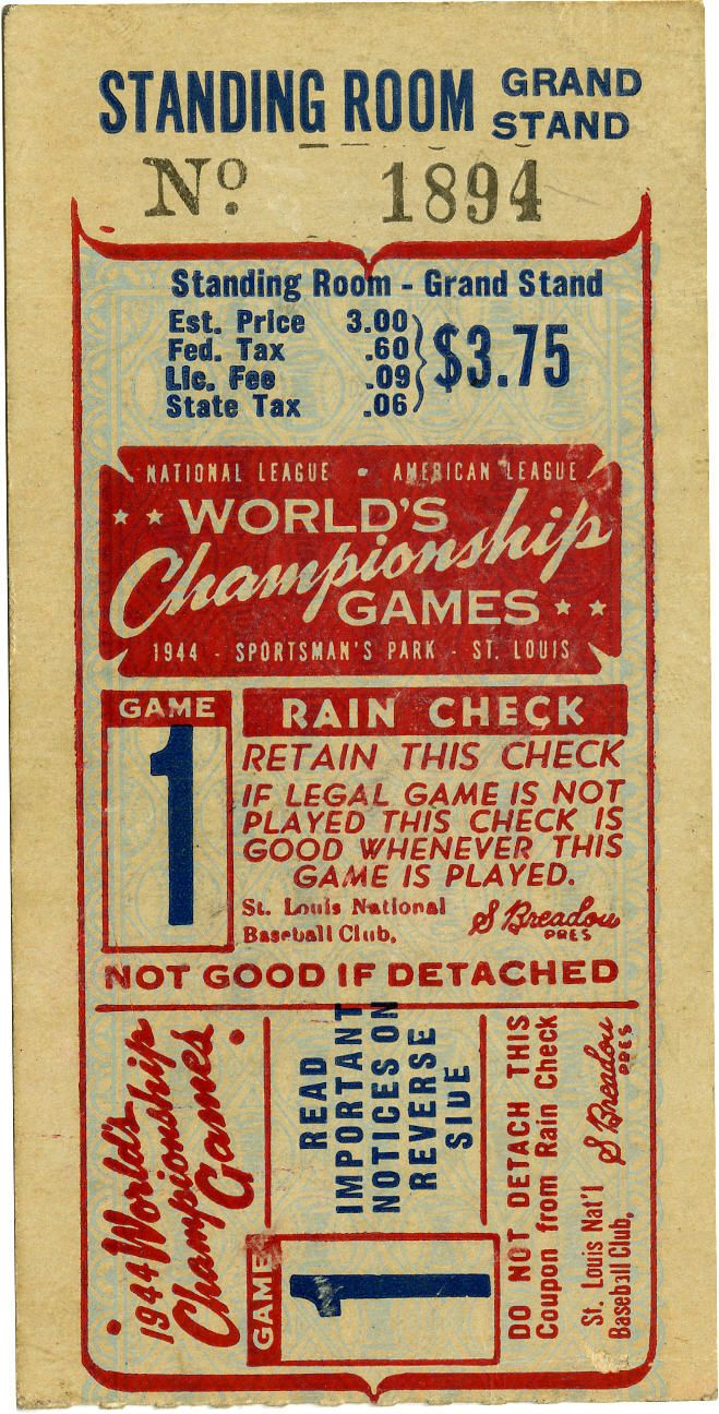 Baseball: 1944 World Series Game 1 Ticket Stub. From the opening game of the all-St. Louis 1944 World Series we bring you this high-quality Game 1 ticket stub. The match saw the Cardinals win in dramatic fashion with a ninth inning sac fly from Ken O'Dea at Sportsman's Park.