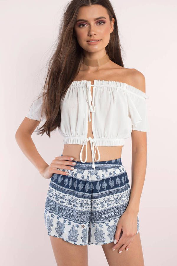You'll fall for the Mary Off Shoulder Crop Top. Featuring an off shoulder crop top. Pair with shorts and lace up sandals. - Fast & Free Shipping For Orders over $50 - Free Returns within 30 days!