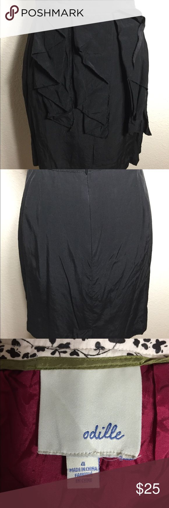 """Odille Anthropologie Brand Skirt Size 4. Black rayon exterior with red acetate lining. Front ruffle trim. Back zip closure. Waist measures 28"""". Length is 18"""". Good condition.   (W) Odille Skirts"""