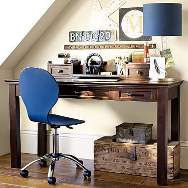 "Hampton Classic Desk + Hutch #pbteen; 57"" wide x 22"" deep x 30"" high Crafted with a kiln-dried wood frame. Desk offers more than 5' of surface area, a pullout keyboard tray and two drawers. $369 + $30 for dark expresso"