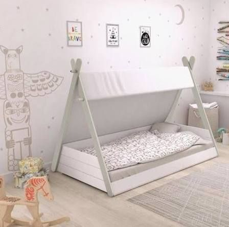 teepee toddler bed Diy toddler bed, Toddler floor bed
