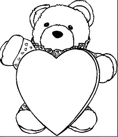 Bear With Heart 3 Coloring Page For Kids And Adults From Holidays Pages Valentines Day