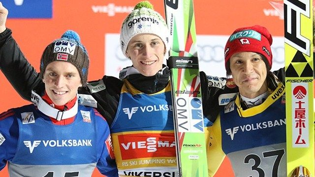 Anders Fannemel, Peter Prevc, Noriaki Kasai - Peter Prevc won the ski flying competition in Vikersund with a new world record -