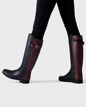 Womens Black Refined Rain Boots   Official US Hunter Boots Store