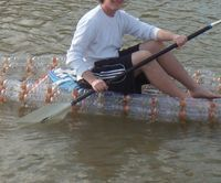 Make an open kayak from recycled bottles. A few years ago I was inspired by a very short video of a man making a small boat from recycled bottles. No matter where I looked, I couldn't come up with any instructions on how to make one of my own, so I had to set out without much guidance.