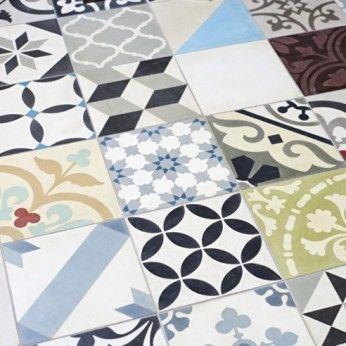 Multicolour Patchwork encaustic tiles setting from The Stone Tile Warehouse Kent