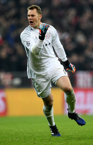 Manuel Neuer, goalkeeper of Muenchen celebrate his team's 3rd goal during the UEFA Champions League Round of 16 first leg match between FC Bayern Muenchen and Arsenal FC at Allianz Arena on February 15, 2017 in Munich, Germany.