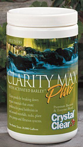 Winston Crystal Clear CCB051-2-1/2 2-1/2-Pound Clarity Max+ by Crystal Clear. $35.30. 2-1/2-Pound bottle treats 20,000 gallons. Safe for all aquatic life. Removes slimy debris from ponds and waterfalls. 2-1/2-Pound. Winston crystal clear ccb051-2-1/2 2-1/2-pound clarity max+
