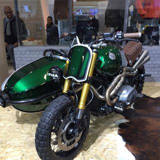 #bmw #moto #motorcycle #motolegende #sitecar #rninety #rninetbmw #vert #green #scrambler #750 #course #race #concept #paris #france #france