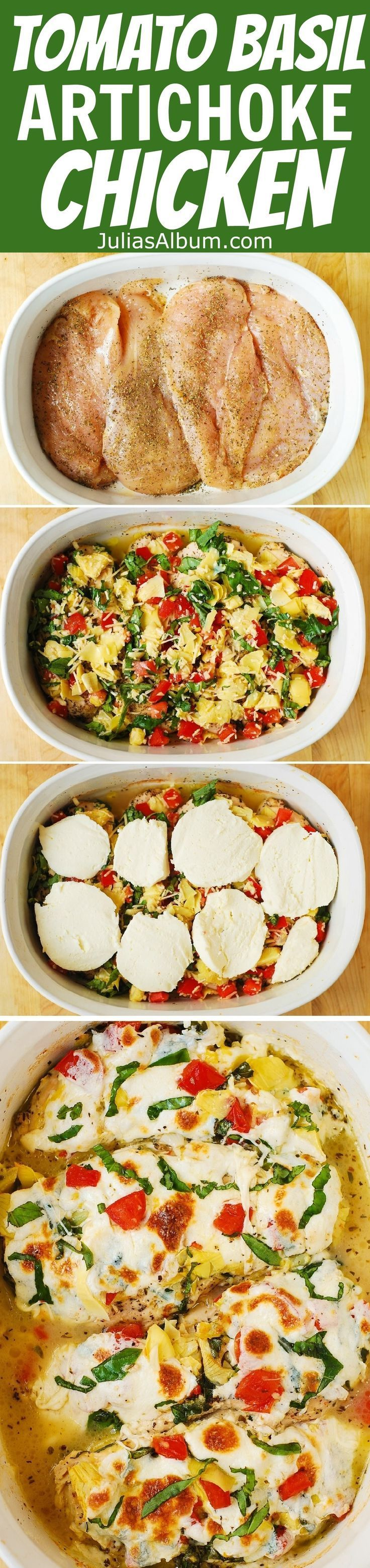 Tomato Basil Artichoke Baked Chicken breasts with melted mozzarella cheese Healthy Mediterranean dinner recipe