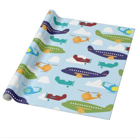 Airplane Aviation Theme Gift Wrap - tap, personalize, buy right now!