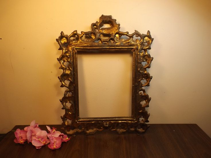 Antique Art Nouveau ornate bronze metal standing frame for picture or mirror.Home decor.Unique Franch scrolling frame.home decor by HuntWithJoy on Etsy