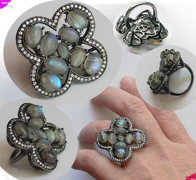 Vanyssa Bijuu - Bijuterii: Inel opulent, trifoi cu patru foi decorat cu 9 pie...
