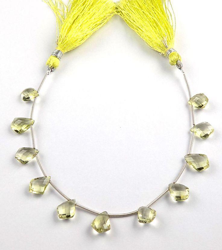 "1 Strand Natural Lemon Quartz Kite Shape 9x13-11x8mm Faceted Gemstone 7"" Long #Raagarw"