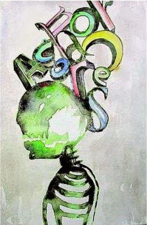 Israel Tolentino, Esqueleto, Acquarello su carta, 2013. Realizzato su carta prodotta da http://www.cartaamanonelleande.org/it/