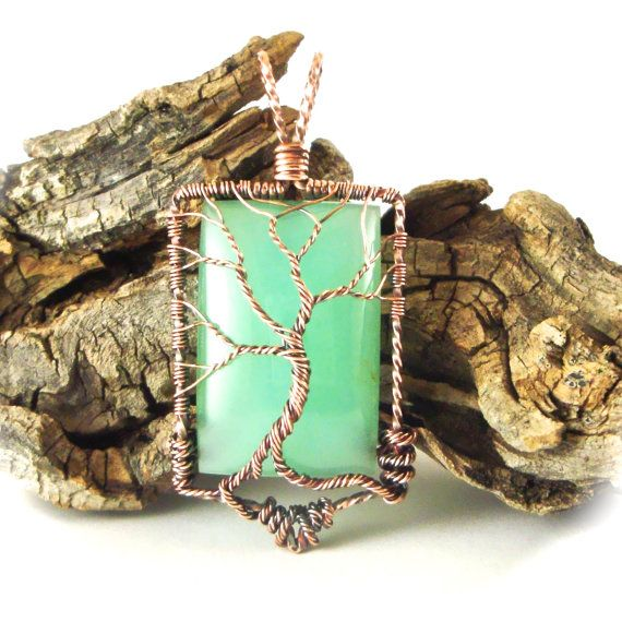 Wire Wrapped Tree of Life Pendant Chrysoprase by CBGJewelryDesigns
