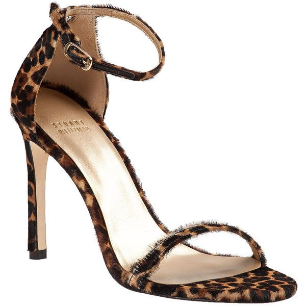 STUART WEITZMAN Nudistsong Sandal Leopard Hair Calf ($238) ❤ liked on Polyvore featuring shoes, sandals, heels, leopard hair calf, ankle strap sandals, leopard print high heel sandals, leopard shoes, heeled sandals and leather sole shoes