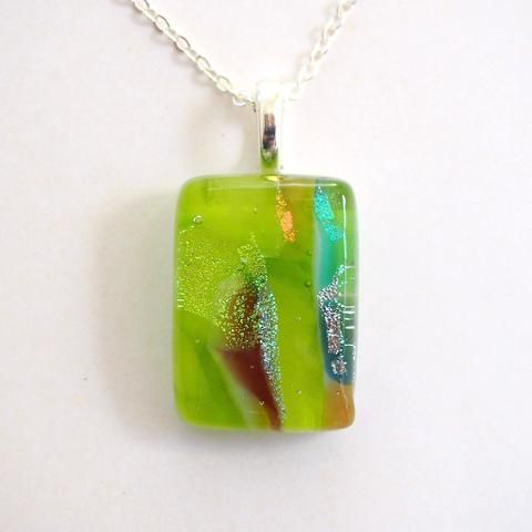 Lime green dichroic glass necklace