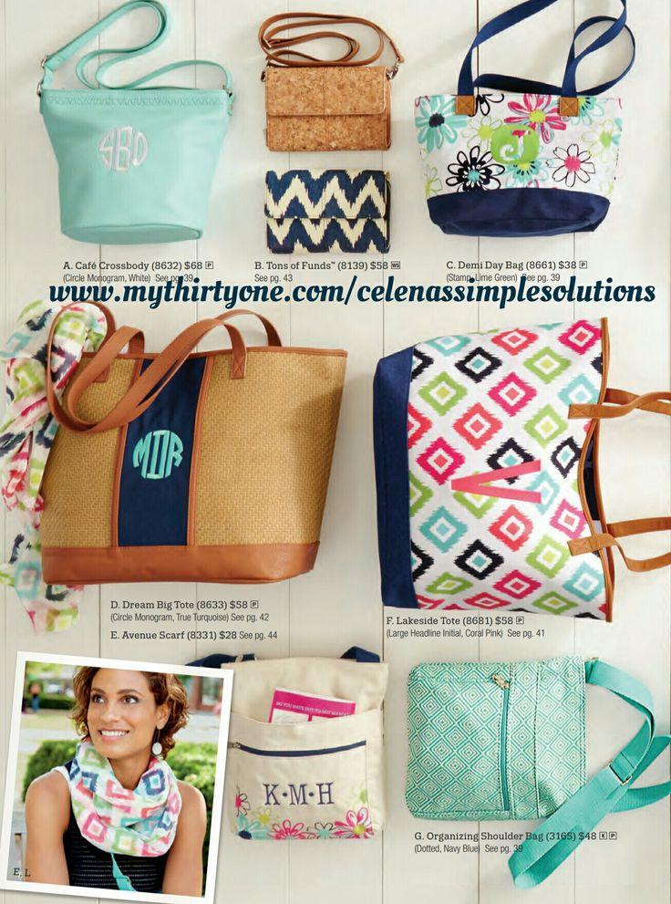 Spring/Summer 2017 Catalog crossbody bag purse tote wallet clutch www.mythirtyone.com/celenassimplesolutions