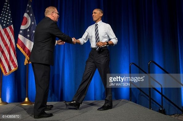 US President Barack Obama arrives to deliver remarks at an event for the Ohio Democratic Party and Governor Ted Strickland in Columbus Ohio October...