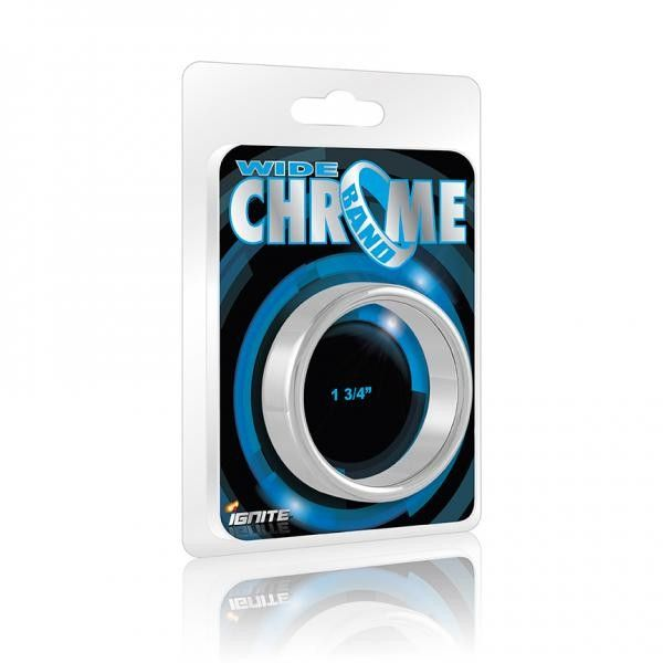"""Wide Chrome Band 1.75"""" Ring Si Novelties Ignite series Wide Chrome Band. Ring comes with a 1.75 inches inner diameter. Ring for men, cock ring for prolonging male climax. Perform like a sex machine."""