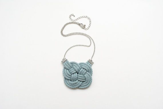 Greyish blue knot necklace teal grey knotted by elfinadesign