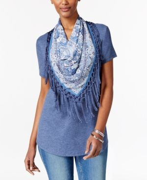 Style & Co Petite T-Shirt with Printed Fringe Scarf, Only at Macy's - Blue P/XL