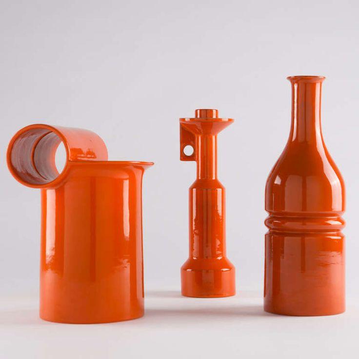 Enzo Bioli: Glazed ceramic vessels for Il Picchio, 1960s.