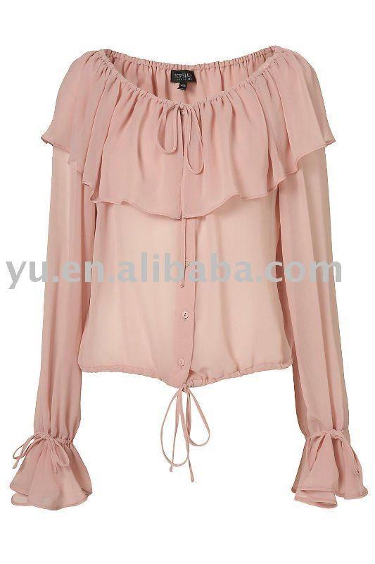 blusa manga chale com punho babado circular