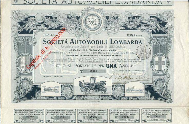 SOCIETA AUTOMOBILI LOMBARDA SAL  ANONIMA PER AZIONI CON SEDE IN BERGAMO Aktie über Lire 25; Bergamo, 1. Juli 1905