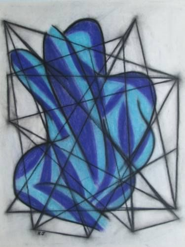 "Saatchi Art Artist Kevin Jones; Drawing, ""Seated Male - leg raised (two colours)"" #art"