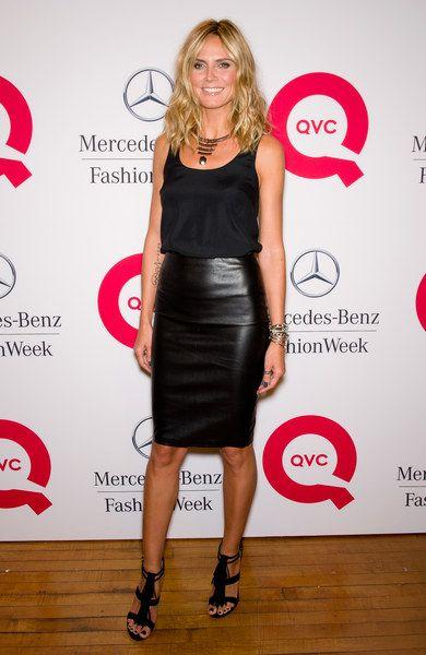 Comment porter la jupe crayon en restant cool ? - Le look cuir d'Heidi Klum Fluide + cuir