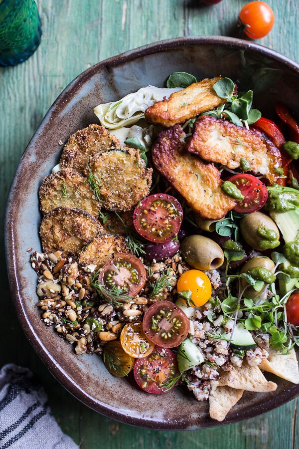 "Greek-Goddess-Grain-Bowl-with-""Fried""-Zucchini-Toasted-Seeds-and-Fried-Halloumi- Half Baked Harvest"