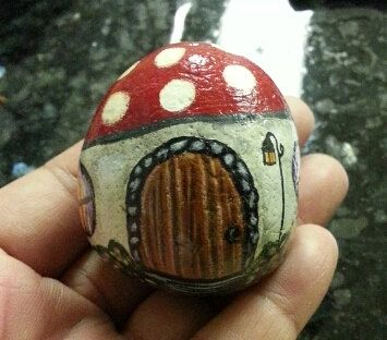 Handpainted Miniature Garden Fairy Gnome Cottage Red Polka Dots Mushroom House Painted River Rock Stone Art Home Garden Decor Terrarium. $23.00, via Etsy.