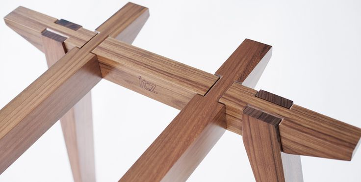 The table's eight pieces are carved by master woodworkers from Bacalar, Quintana Roo, in Mexico—the design is based on traditional joinery techniques found all over the world. Design by Shiguru Ban